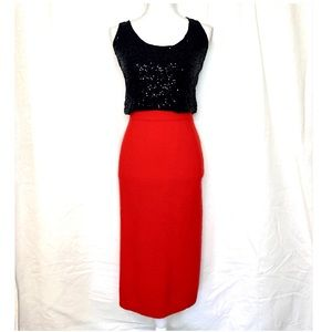 Vintage 90s red wool and rabbit hair pencil skirt